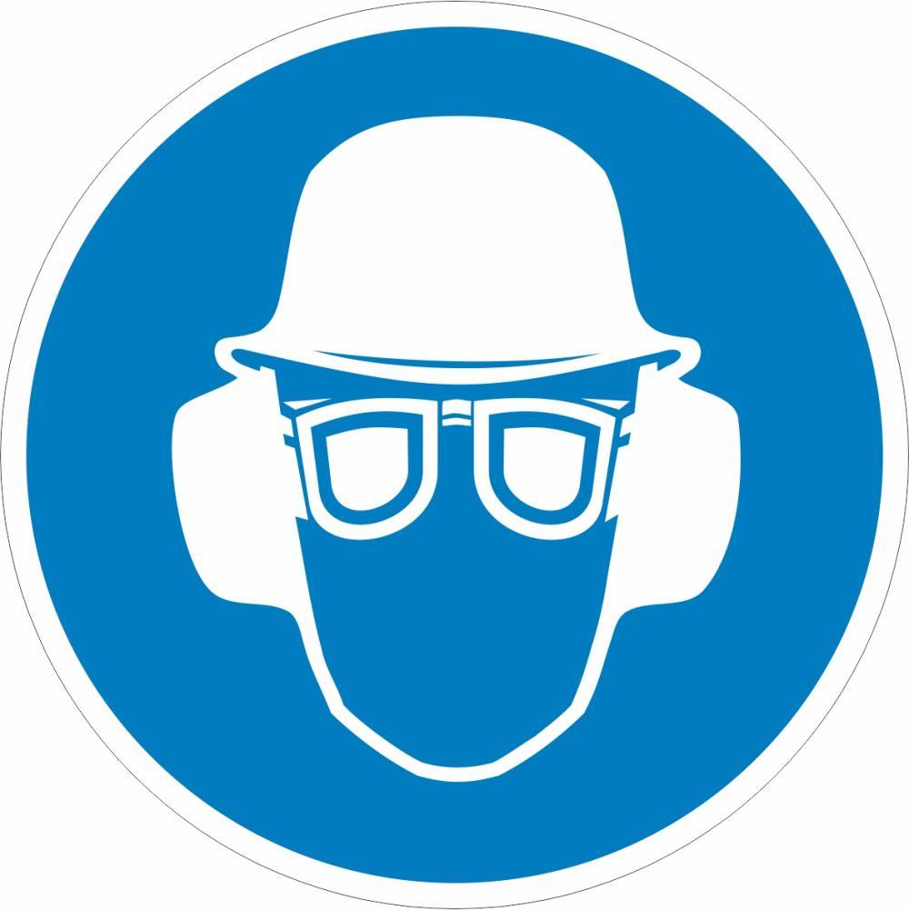 Augen-,Gehör-und Kopfschutz tragen