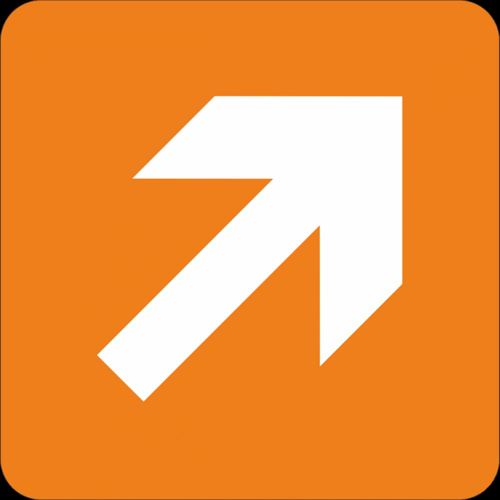 Piktogramm Richtungspfeil - oben rechts