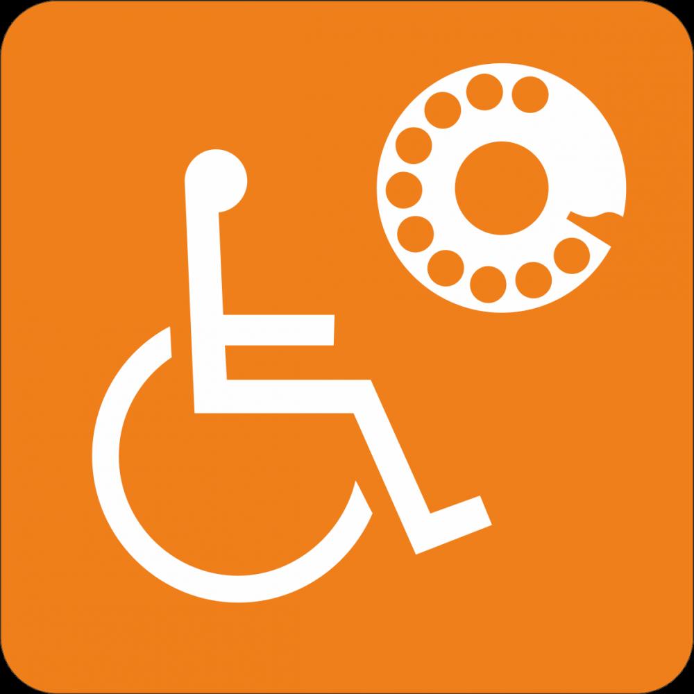 Piktogramm Telefonzelle für Rollstuhlfahrer