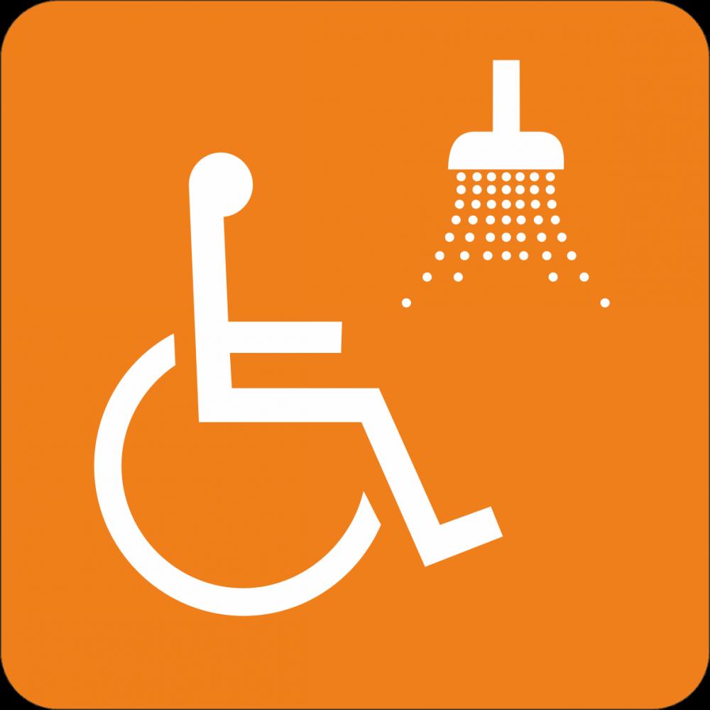 Piktogramm Dusche für Rollstuhlfahrer