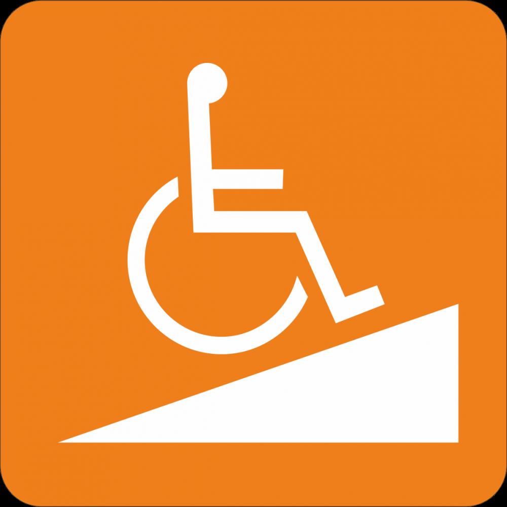 Piktogramm Rampe für Rollstuhlfahrer