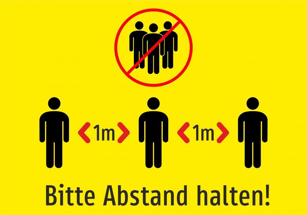 Bitte Abstand 1m halten! (gelb)