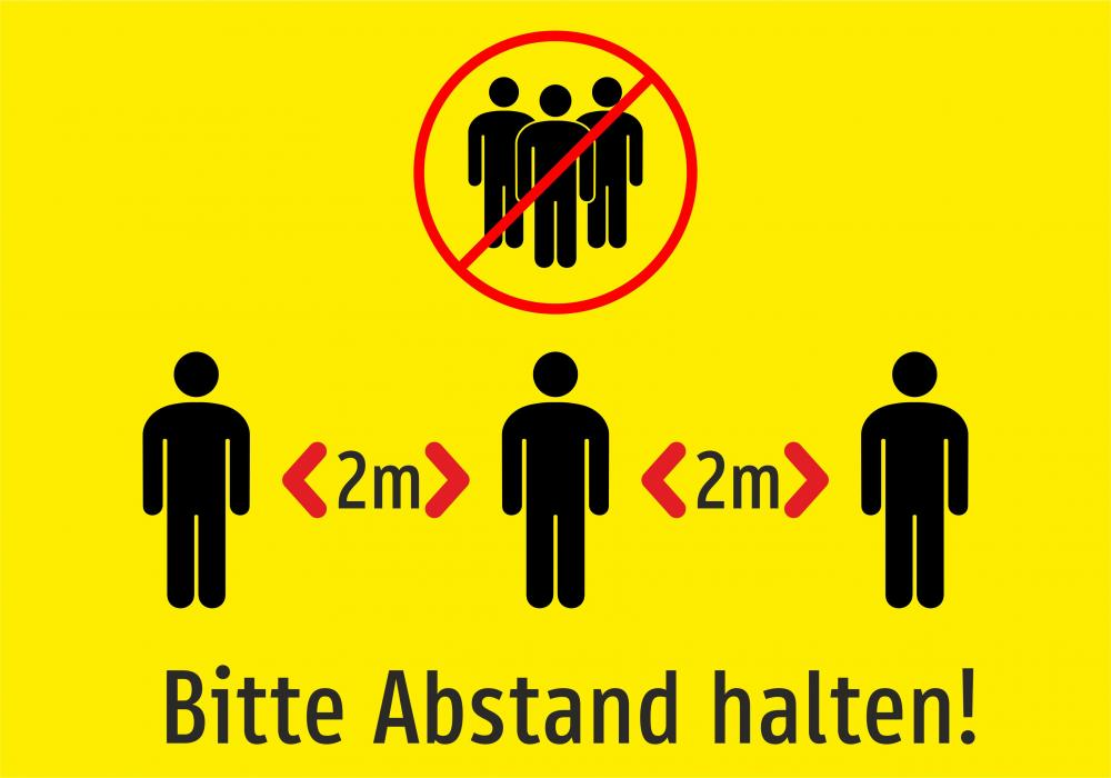 Bitte 2m Abstand halten! (gelb)