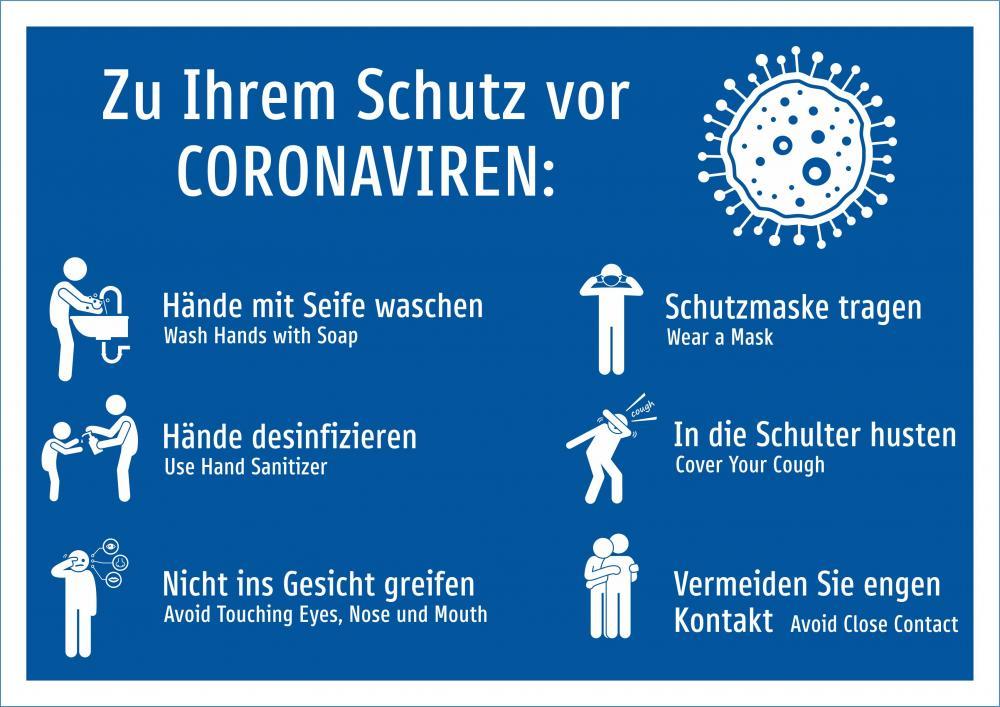 Coronoavirus - Anleitung Ansteckung vermeiden (blau)