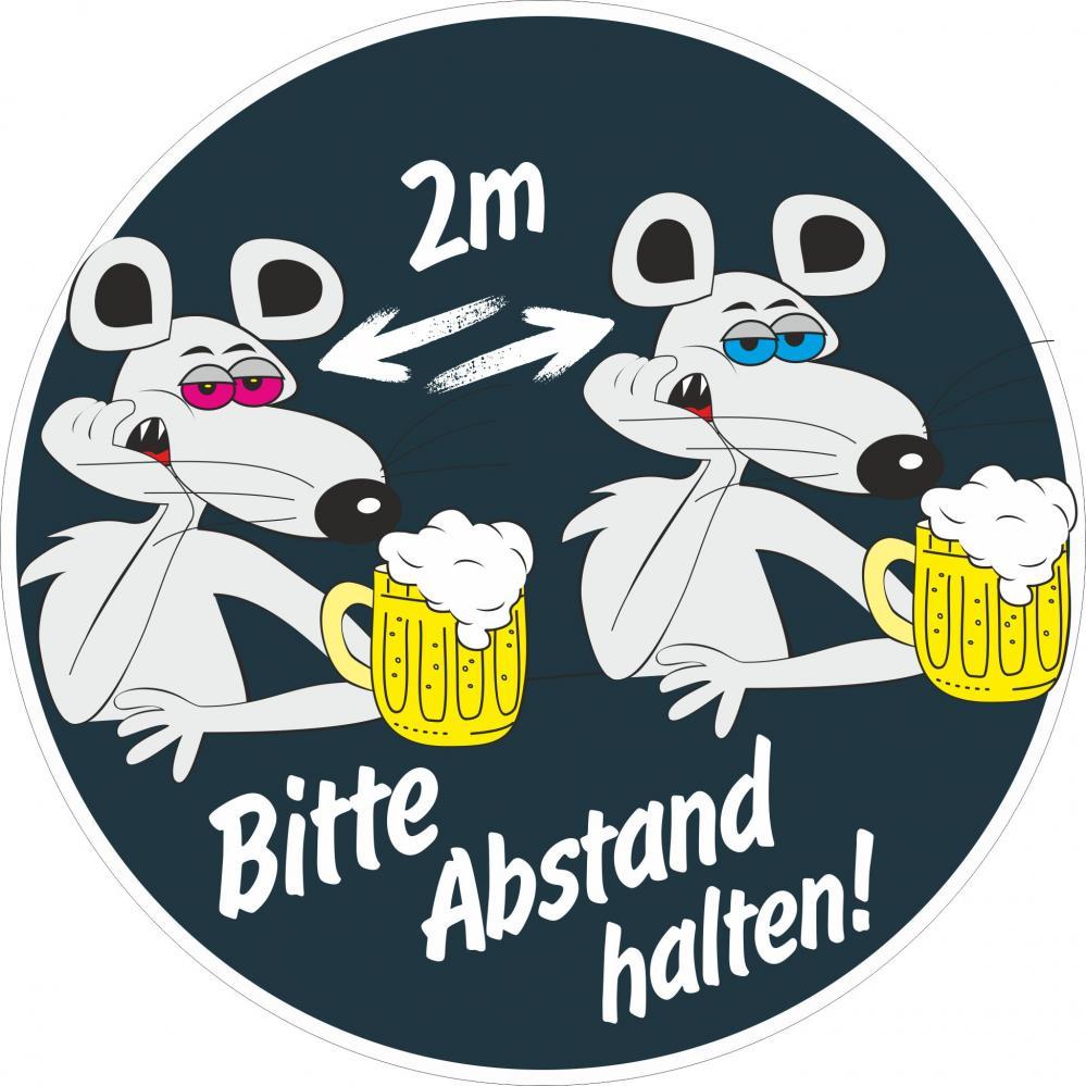 Aufkleber rund: Bitte 2m Abstand halten - Motiv Mäuse Bier