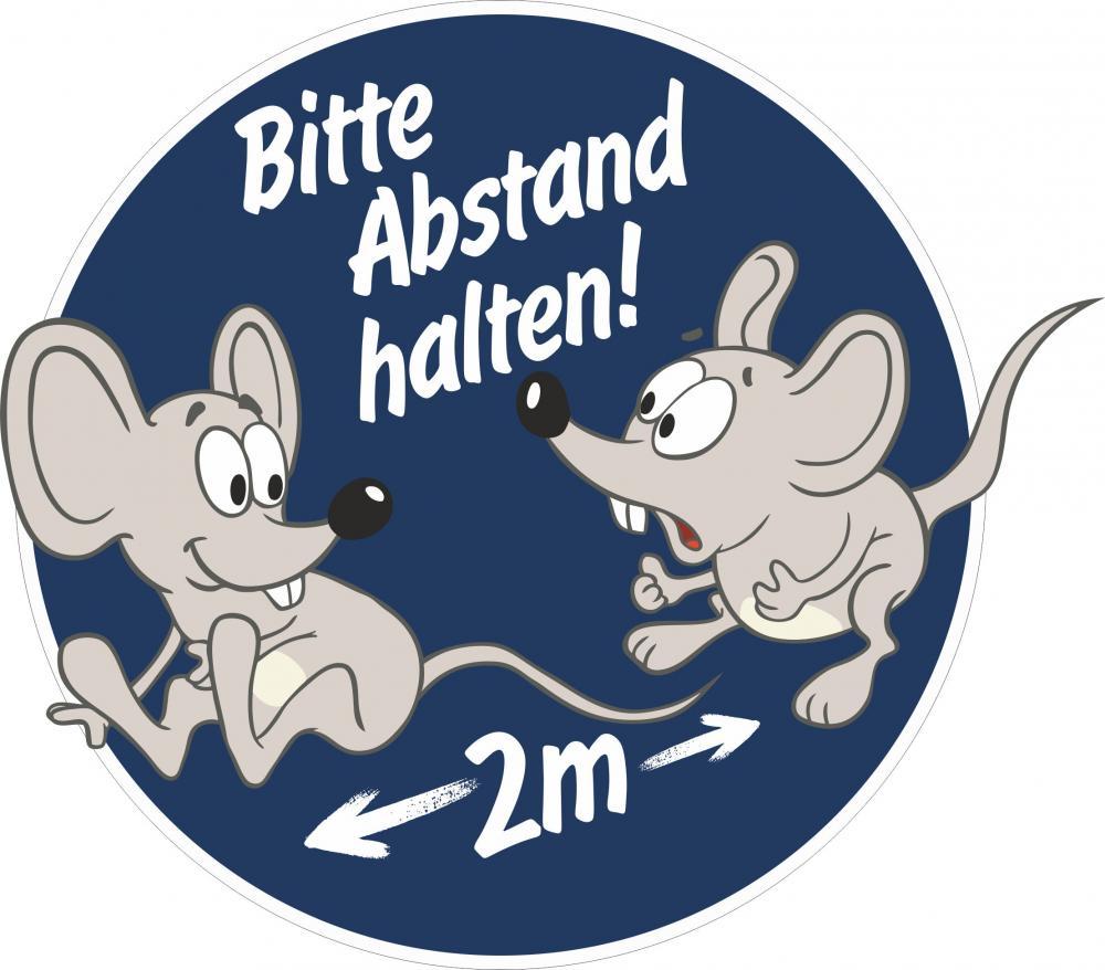 Aufkleber rund: Bitte 2m Abstand halten - Motiv Mäuse