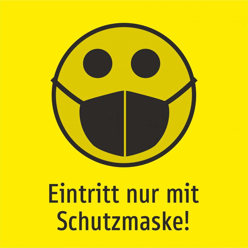 Eintritt nur mit Schutzmaske! (Smiley gelb)
