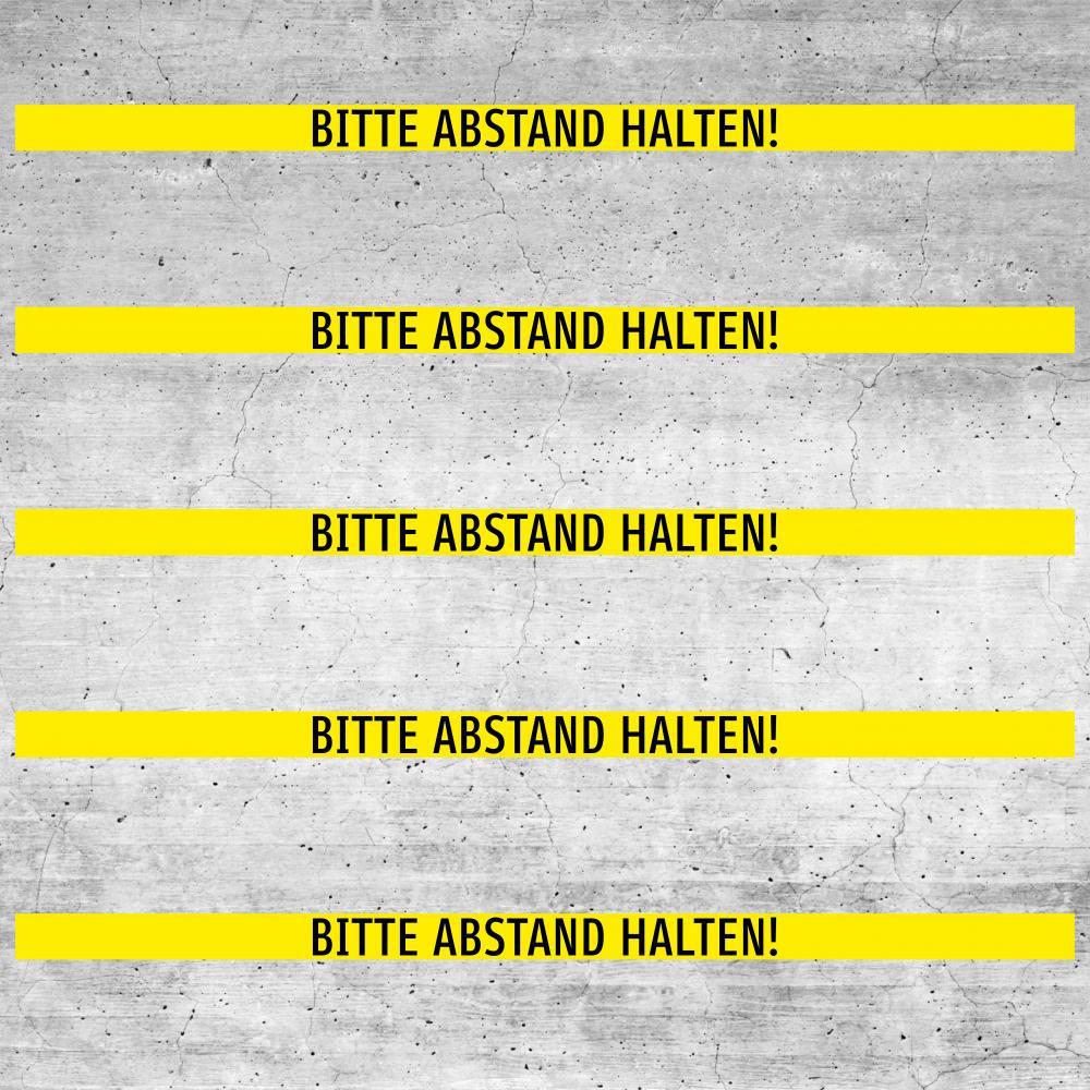 Bodenaufkleber rutschfest: Bitte Abstand halten! (gelb)