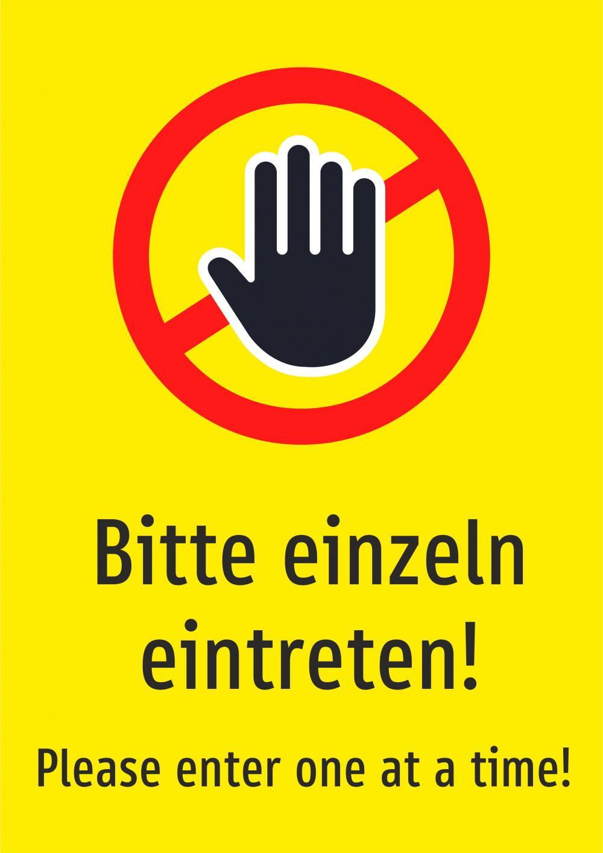 Bitte einzeln eintreten! Deutsch und Englisch