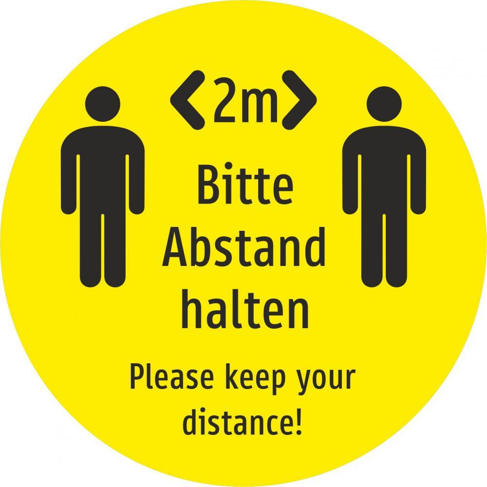 Bitte Abstand halten! (gelb) Deutsch und Englisch