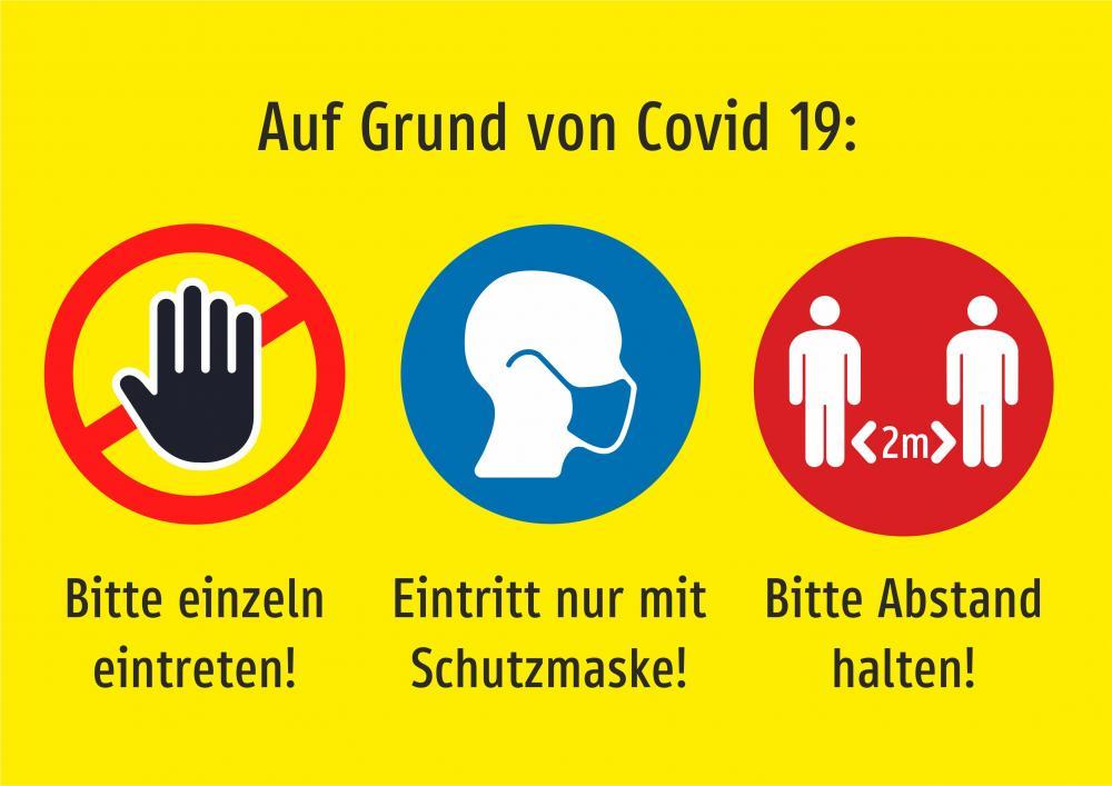 3er Kombi: Einzeln eintreten + Schutzmaske + Abstand (gelb)