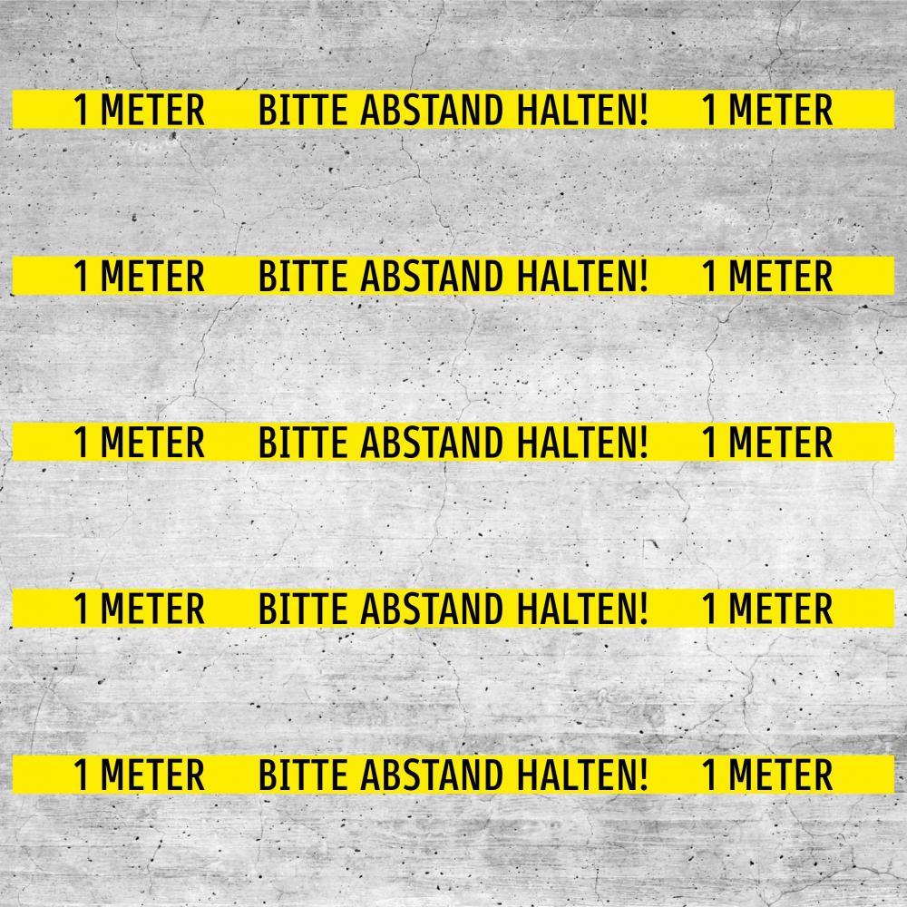 Bodenaufkleber rutschfest: Bitte 1 Meter Abstand halten! (gelb)