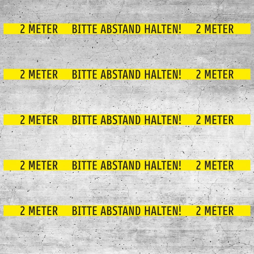 Bodenaufkleber rutschfest: Bitte 2 Meter Abstand halten! (gelb)
