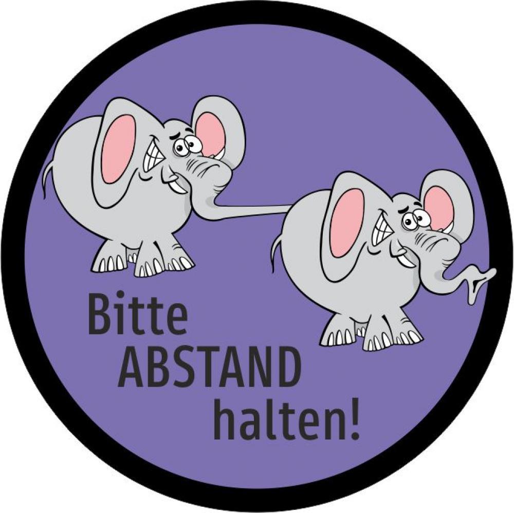Button: Bitte Abstand halten - Motiv Elefanten