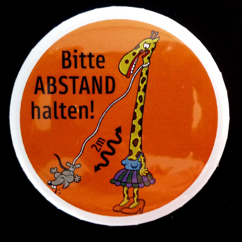 Button: Bitte Abstand halten - Motiv Giraffe