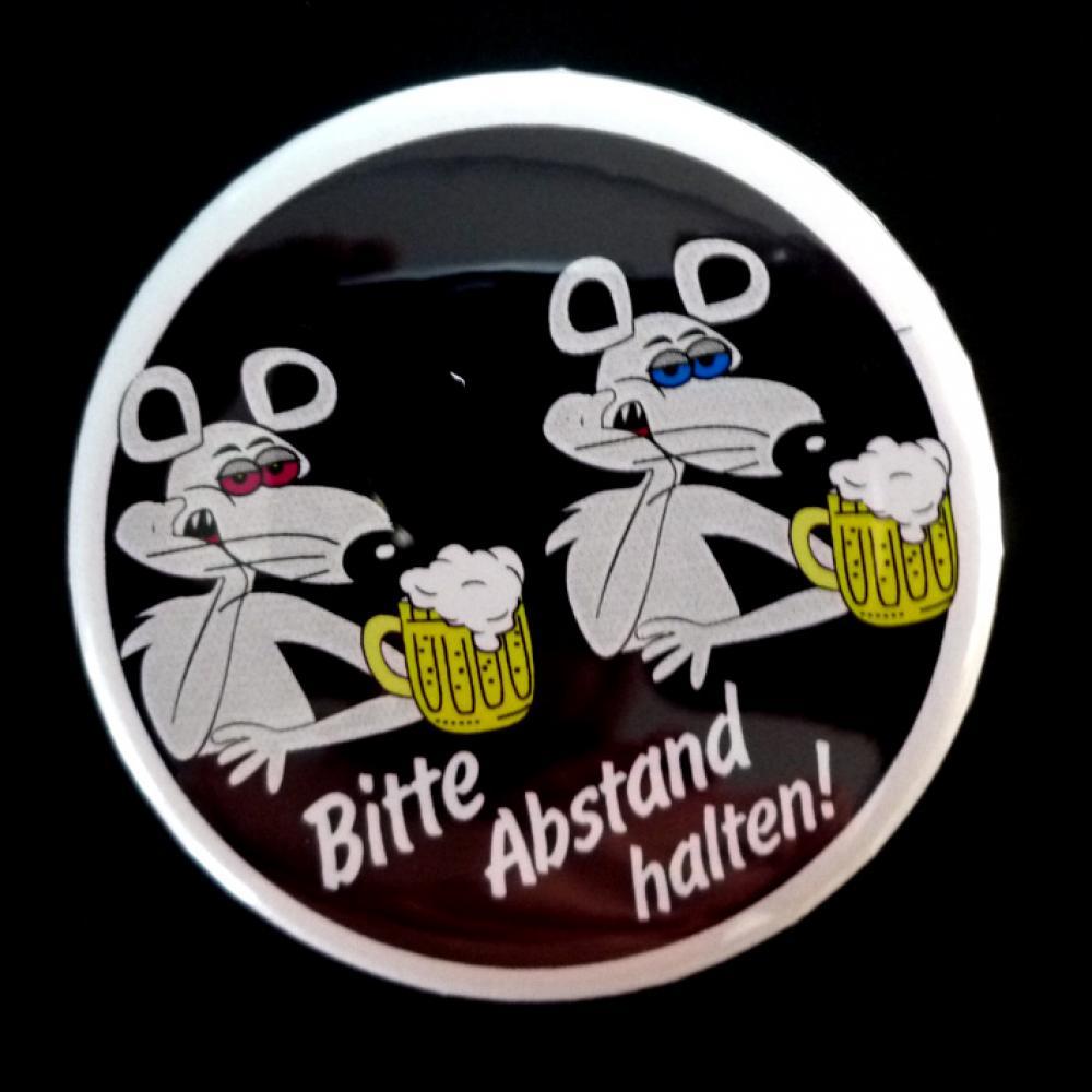 Button: Bitte Abstand halten - Motiv betrunkene Mäuse