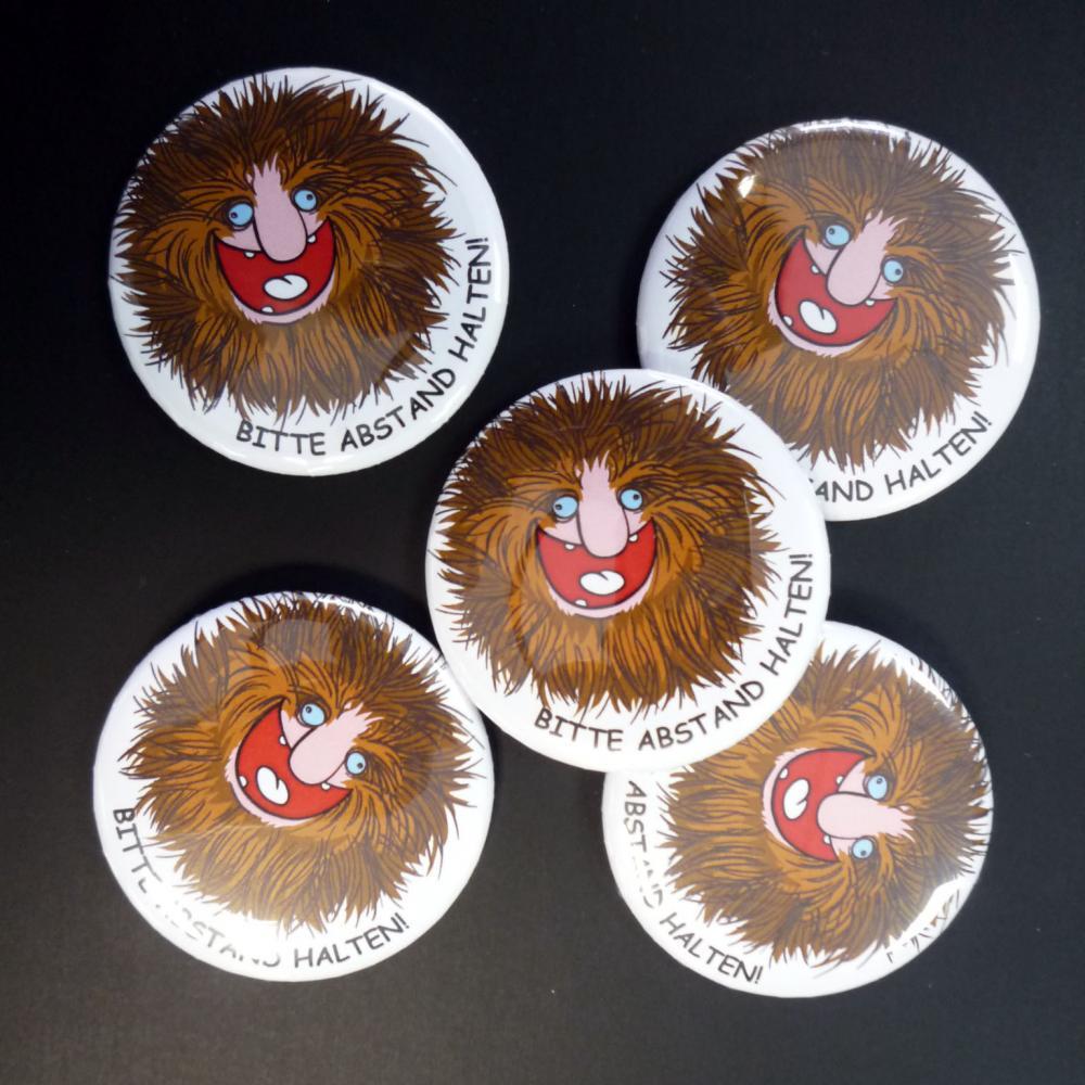 Button: Bitte Abstand halten - Motiv Friseur