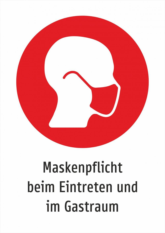 Maskenpflicht beim Eintreten und im Gastraum