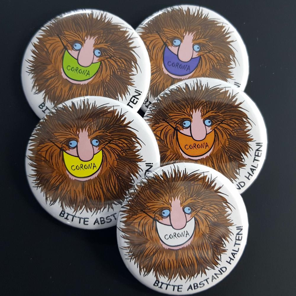Button: Bitte Abstand halten - Motiv Friseur mit Mundmaske