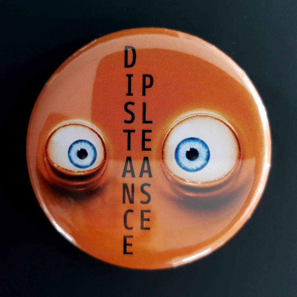 Button: Bitte Abstand halten - Motiv Augen orange