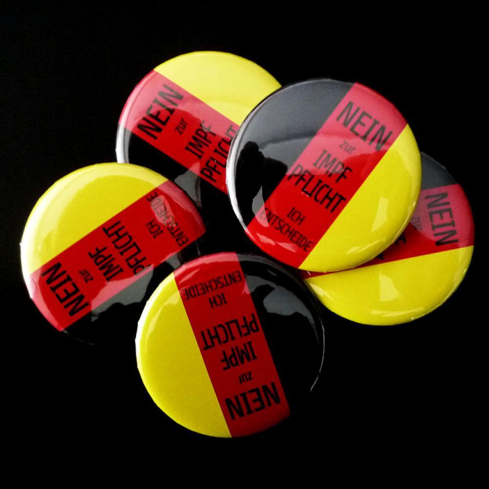 Button: NEIN zur Impfpflicht - ich entscheide (Deutschland)