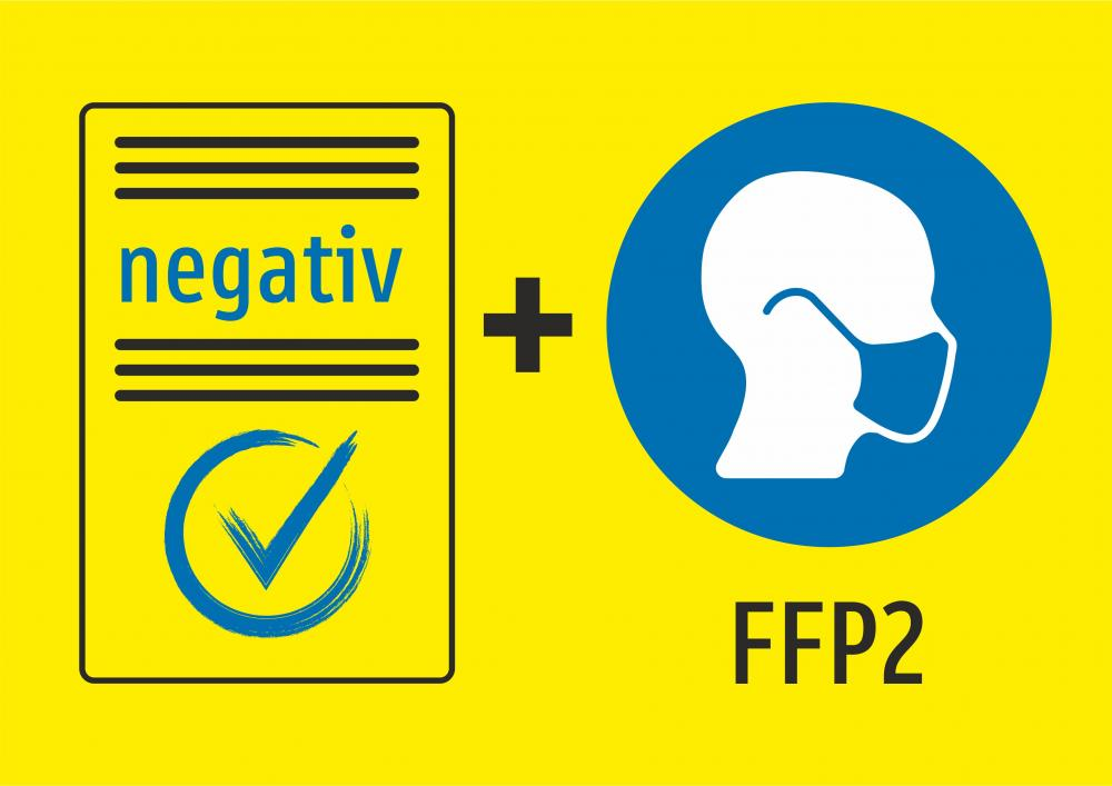 Eintritt nur mit negativem Test und FFP2 Maske (gelb)