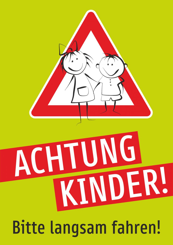 Achtung Kinder! Bitte langsam fahren! (Grün)