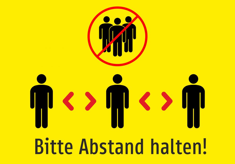 Bitte Abstand halten! (gelb)