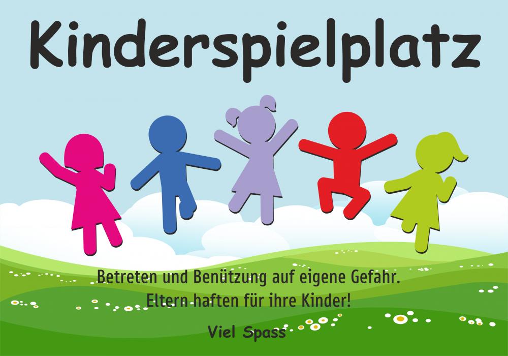Kinderspielplatz - Betreten und Benützung auf eigene Gefahr. Eltern haften für Ihre Kinder! (Wiese)