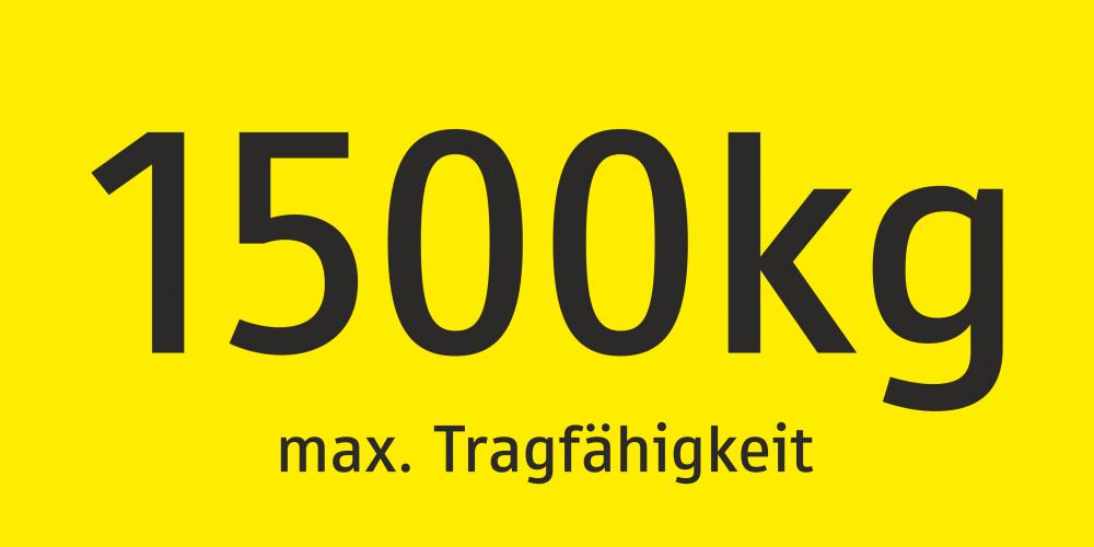 Max. Tragfähigkeit 1500 kg
