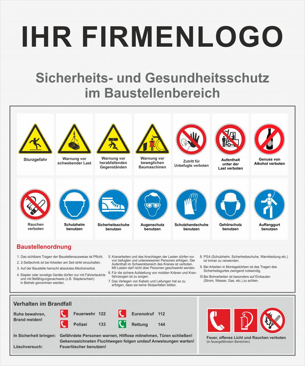 Baustellensicherheitstafel - optimal für die Eingangstür von Baucontainern