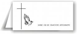 Dankeskarte Kreuz mit betenden Händen