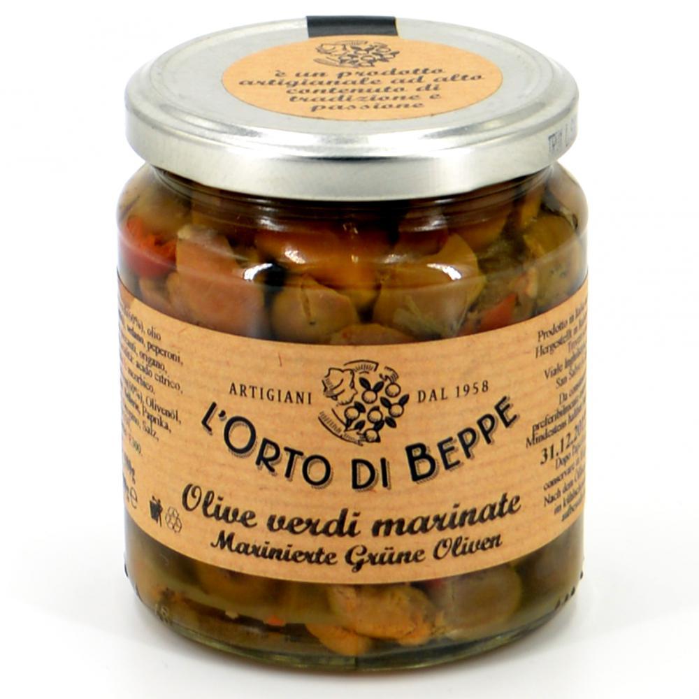 Marinierte grüne Oliven