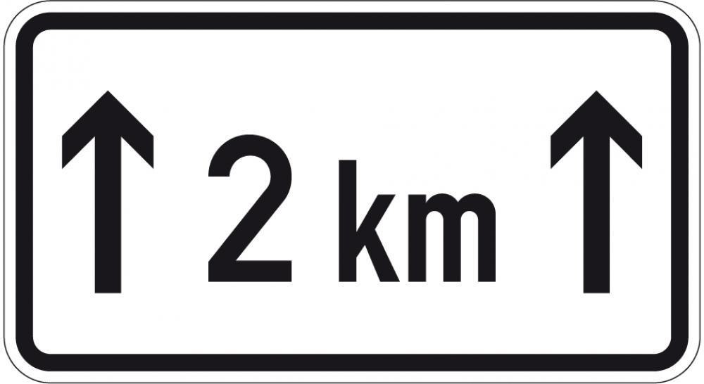 Auf einer Strecke von .. km