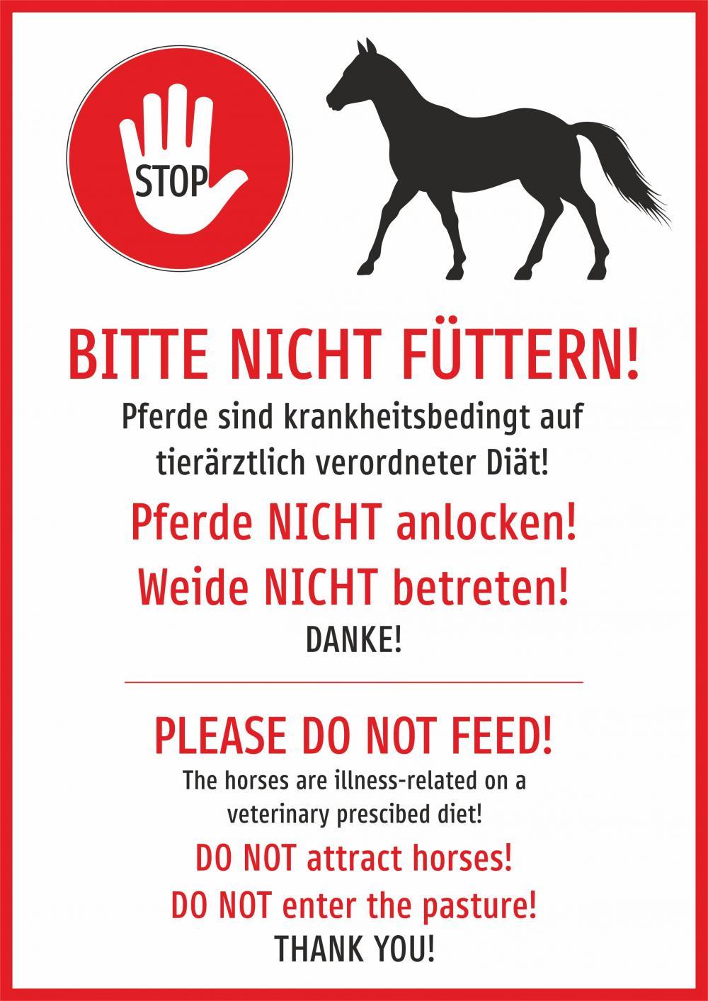 Pferde nicht füttern!